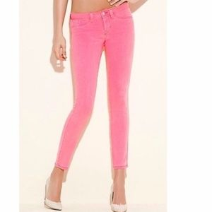 GUESS Brittney Ankle Skinny Neon Jeans Crop Pink